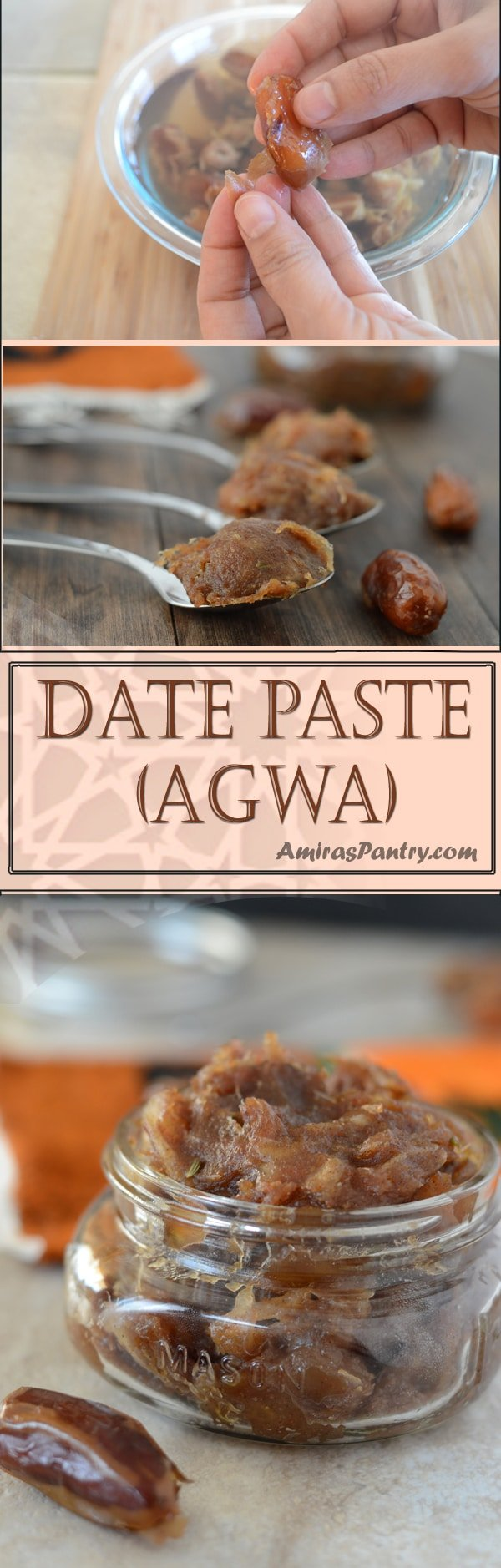 Agwa is the Middle Eastern paste used to stuff pastries and cookies . It is not the kind of date paste that you will use to sweeten your drinks and recipes. This is a thick paste used to stuff baked goods.