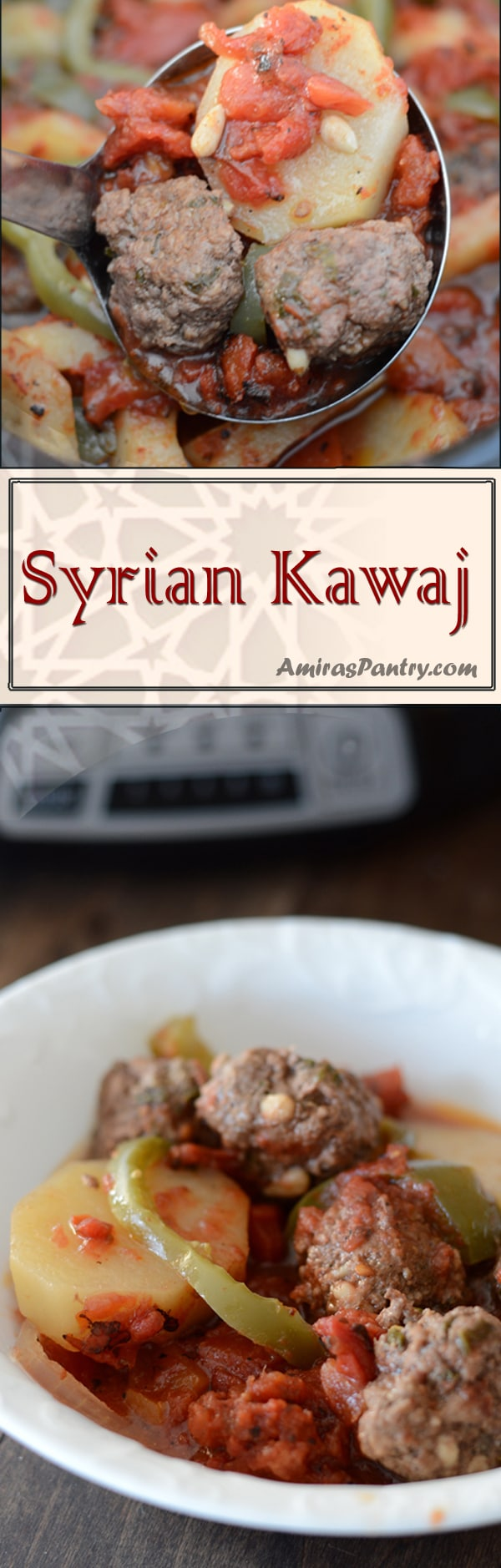 Syrian Kufta (Kawaj) is a a potato, tomato & minced meat bake, an easy weeknight dinner but this time it gets even easier with the slow cooker.