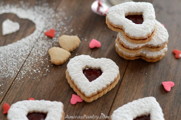 A close up cinnamon hearts cookies