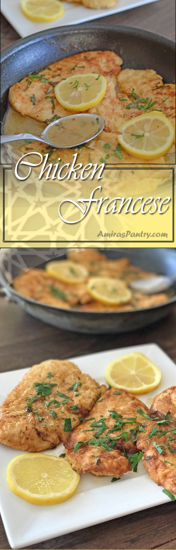 Tender chicken breast, topped with a delicious lemony buttery sauce a family favorite no wine chicken francese.
