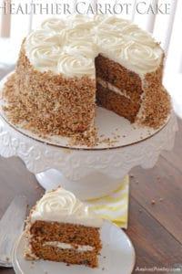 Healthier Carrot Cake; super moist with honey sweetened frosting