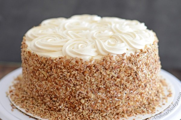Moist and healthy carrot cake with yogurt frosting.