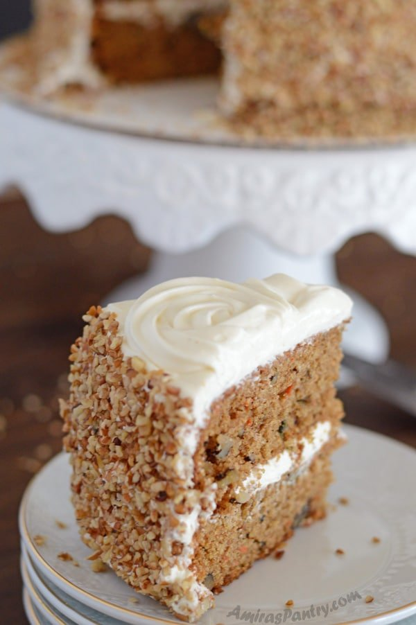 A slice of the healthy carrot cake in a plate.