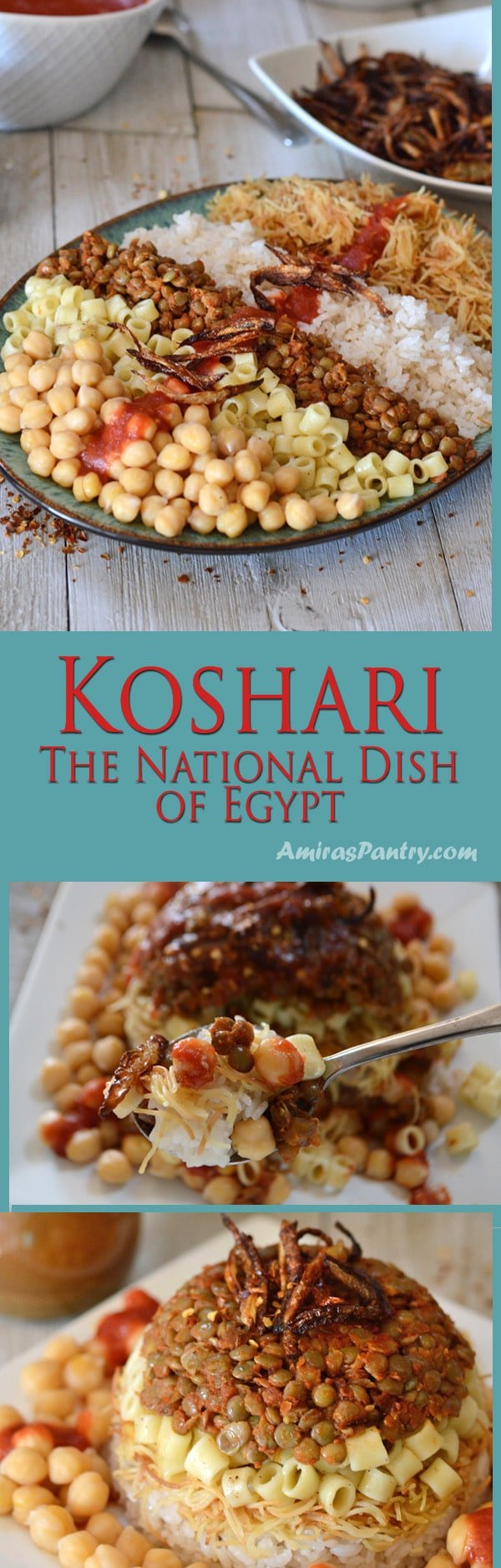 A table showing a plate with a serving of koshary with plates of tomato sauce, lentils, pasta and fried onions.