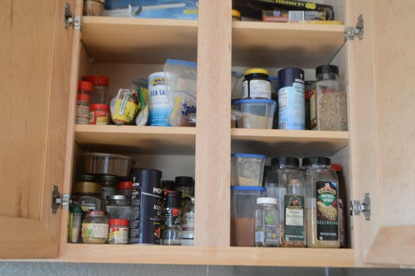 Photos showing spring clean organizing shelves