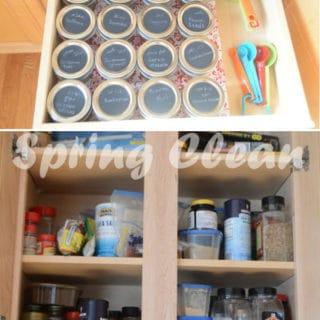 Photos showing spring clean organizing shelves