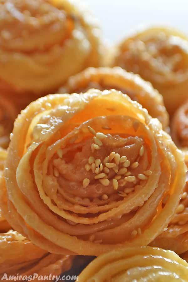 A close up of Tunisian dessert cookies