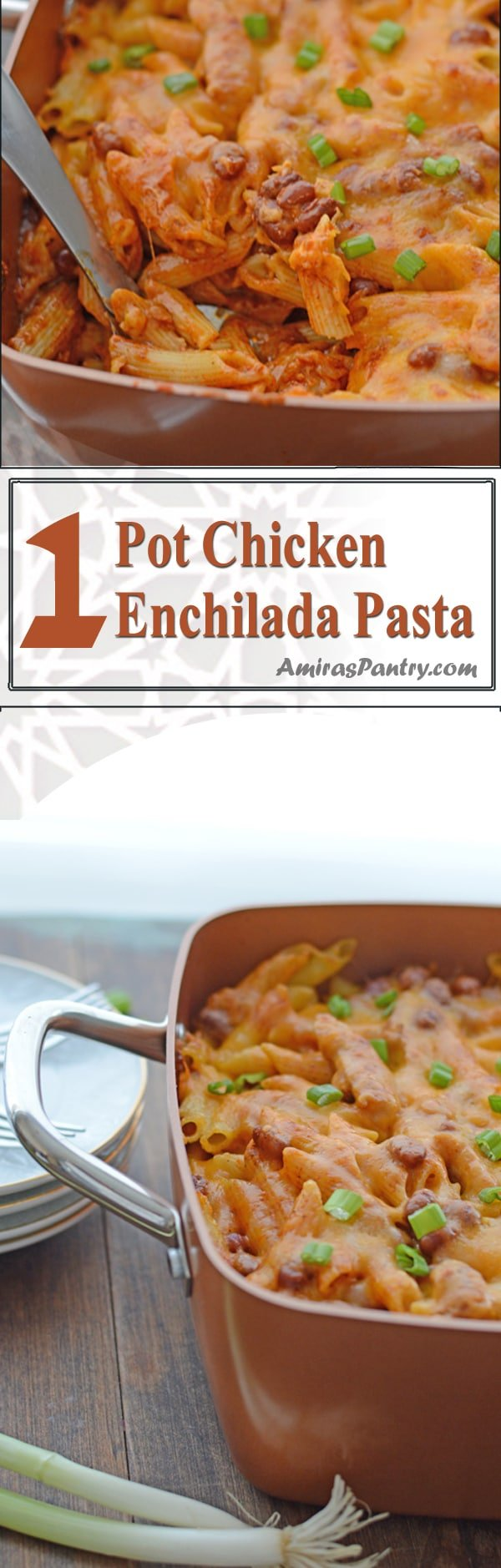 An infograph for one pot chicken enchilada recipe