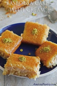 Basbousa cake; a Semolina dessert with cream