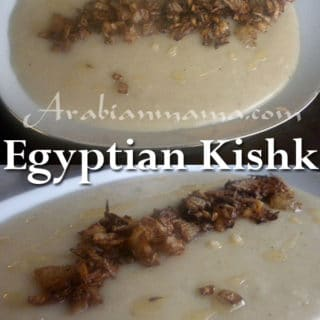 A bowl of food on a plate, with Egyptian Kishk