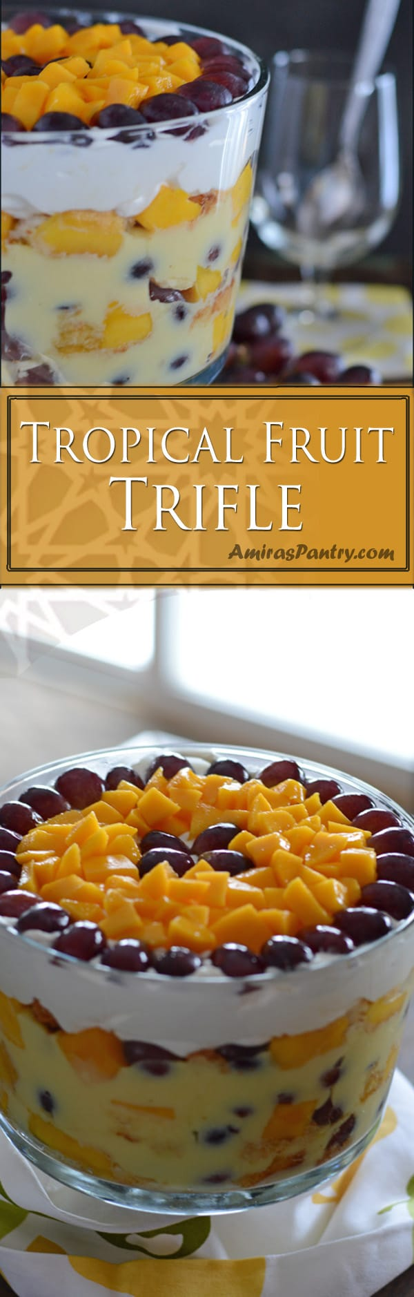 Layers of tropical fruits, cream and cake. Sweet, juicy and oh so delicious. The best way to welcome summer is to make a summer trifle.