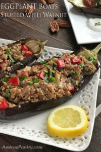 Stuffed Eggplant Boats with Walnut
