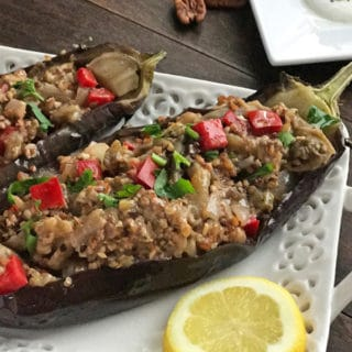 An infograph for Eggplant boats recipe