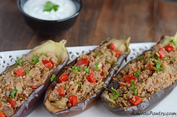 Walnut-Stuffed Eggplant Recipe for those seeking texture, flavor and uniqueness. A great appetizer to accompany your grilled meat.