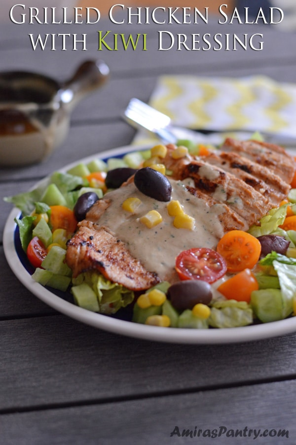 Tender grilled chicken with colorful salad and tossed with creamy kiwi and tahini dressing.