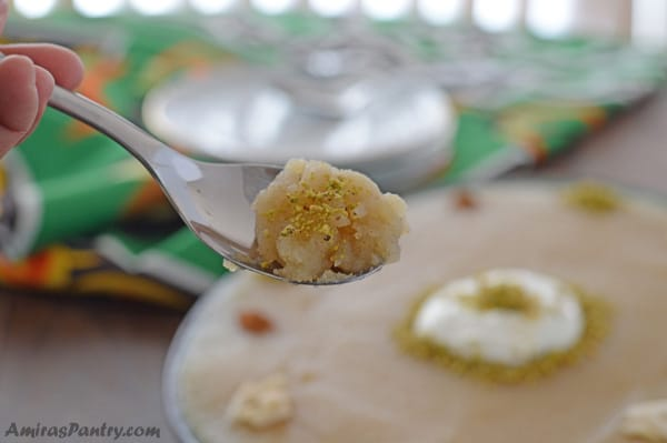 Mamounia is roasted semolina dish that is cooked in syrup and garnished with nuts and cinnamon. A Syrian semolina pudding that is warm, creamy and so sweet.