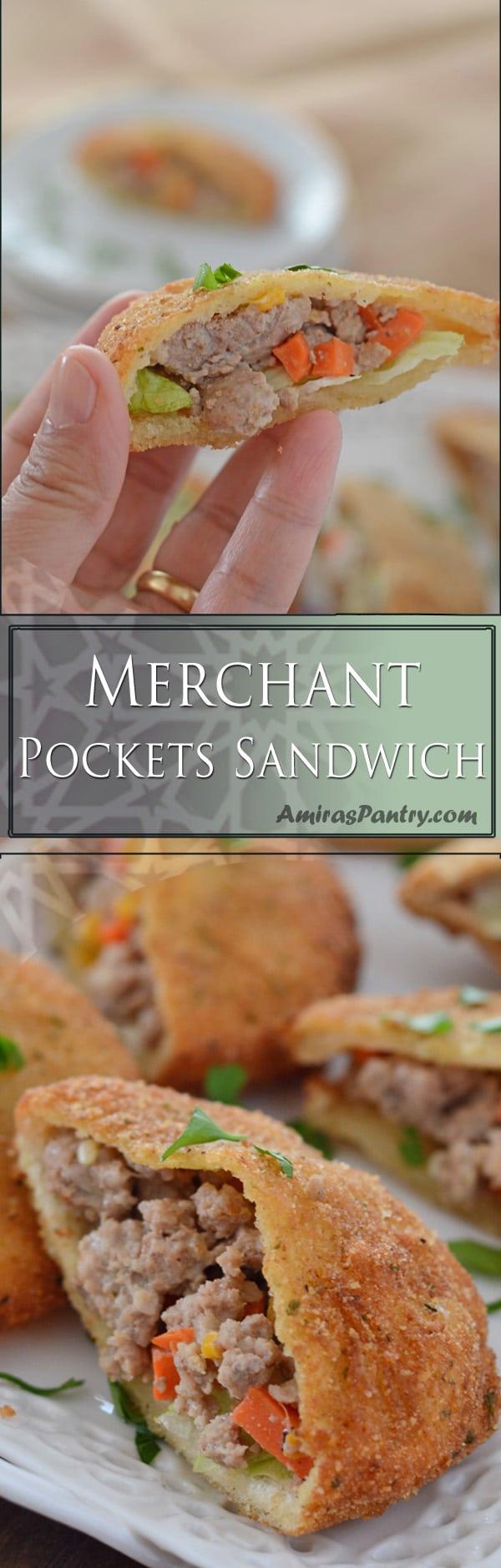 An infograph for merchant pocket sandwich recipe