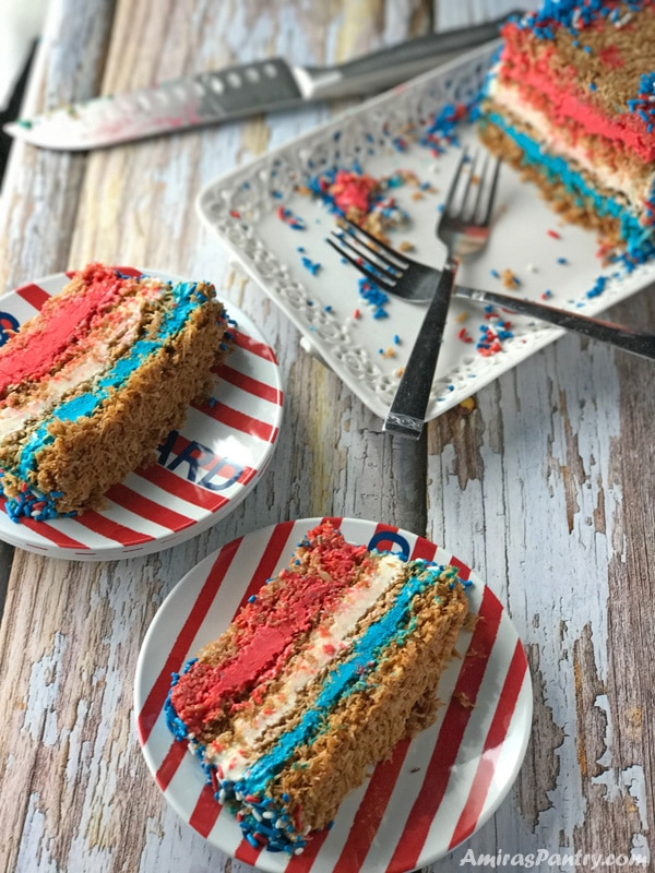 Celebrate 4th of july in a unique way with this Middle eastern inspired ice cream cake.