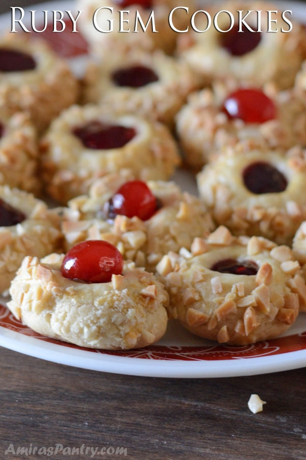 A close up of food, with ruby gem Cookies