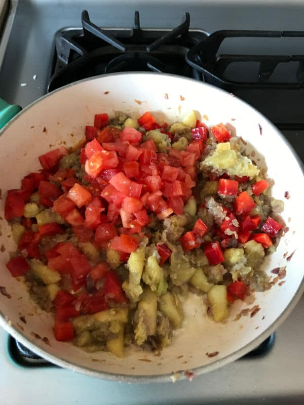 A bowl of food mixture for making zucchini recipe