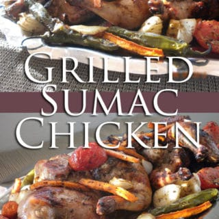 An infograph for grilled Sumac Chicken recipe