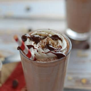 A close up of a drink with Nutella protein shake
