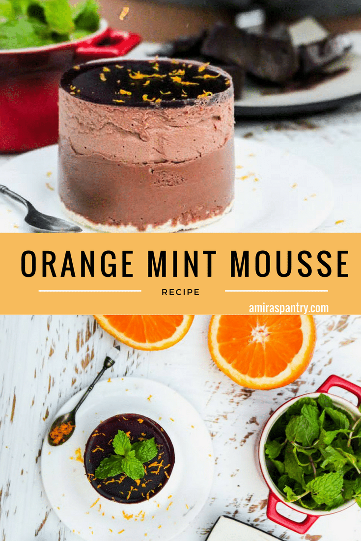 An infograph for a food on a plate, with Mint and Mousse dessert