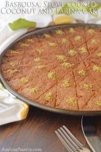 Basbousa, Stove cooked Coconut and Farina Cake