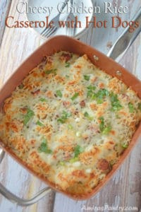 Cheesy Chicken Rice Casserole with Hot Dogs