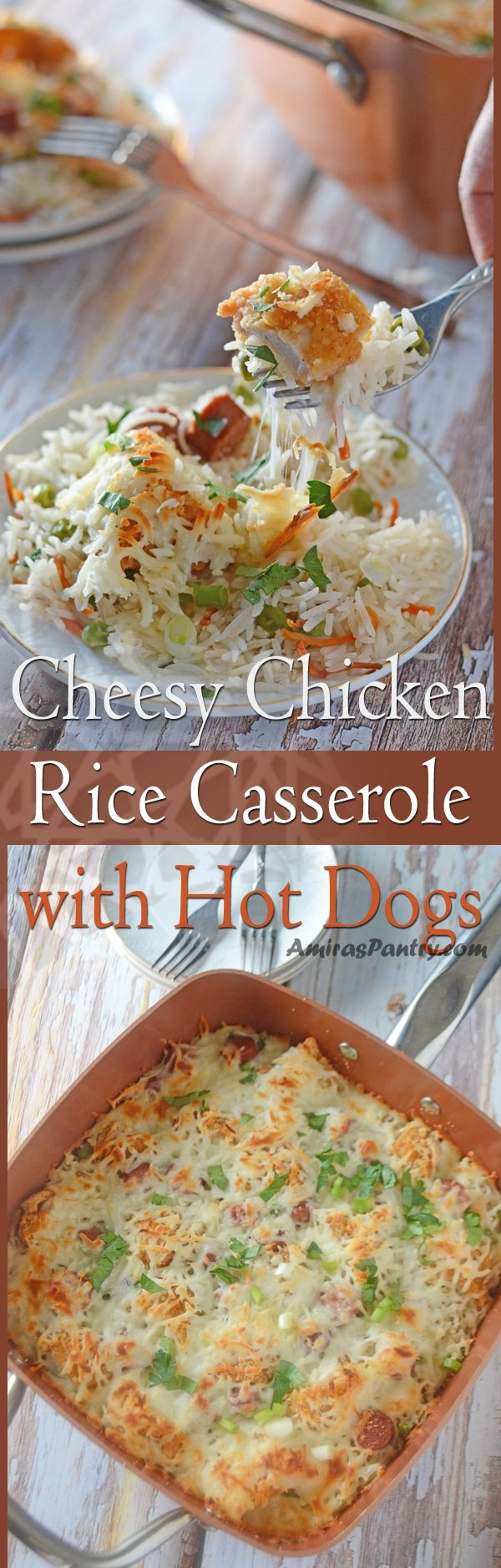 Cheesy Chicken Rice Bake, loaded with veggies, chicken and hot dogs. A family favorite, kids approved an all you can eat dinner in one pot.