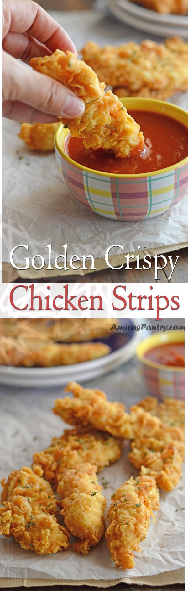 Crispy chicken strips, tender juicy and perfectly seasoned. A kids' all time favorite recipe.