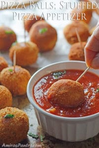 Pizza Balls; A Quick Bite Stuffed Pizza Appetizer
