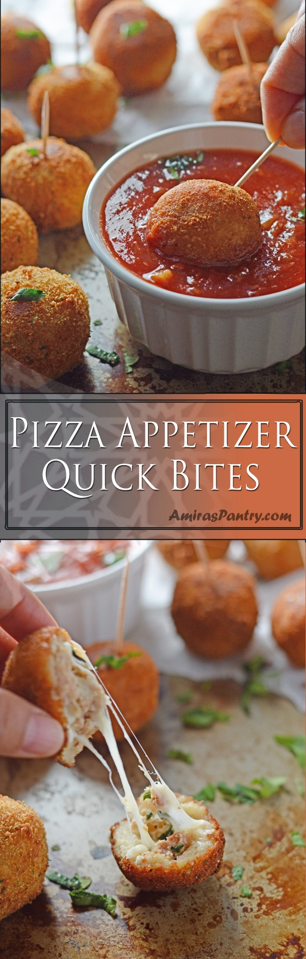 These pizza balls are crispy outside, pillowy inside, a very pizza appetizer bites. Fill them with your family favorite, think pepperoni, sausage, bacon and melted cheese. Great for an afterschool snack or an ultimate game day appetizer. Enjoy the goodness of  homemade pizza bites.