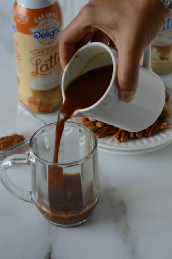 A cup of coffee, with coffee caramel latte