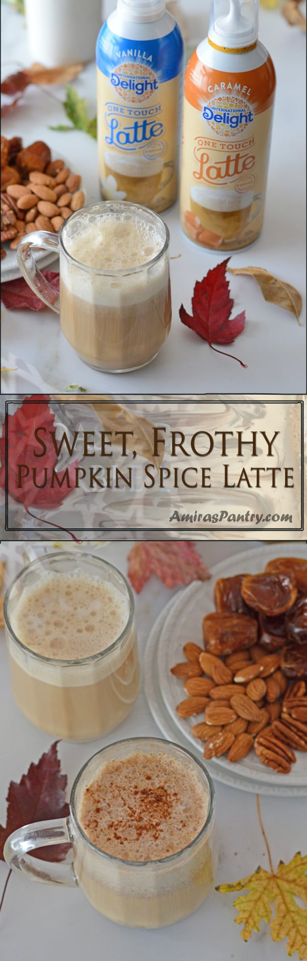 Make your own Pumpkin Spice Caramel Latte with just 3 east steps. #ad @Walmart #LatteMadeEasy