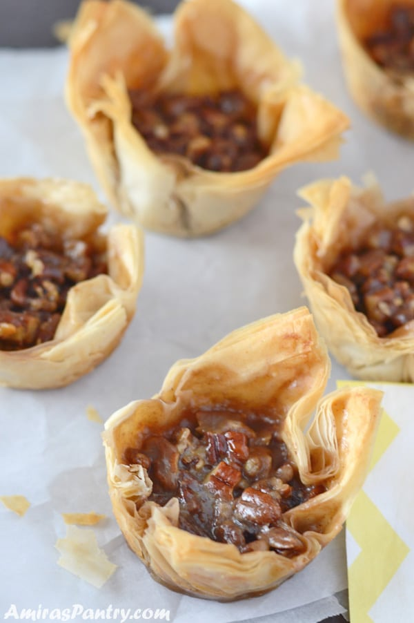 baklava cups with pecan pie filling