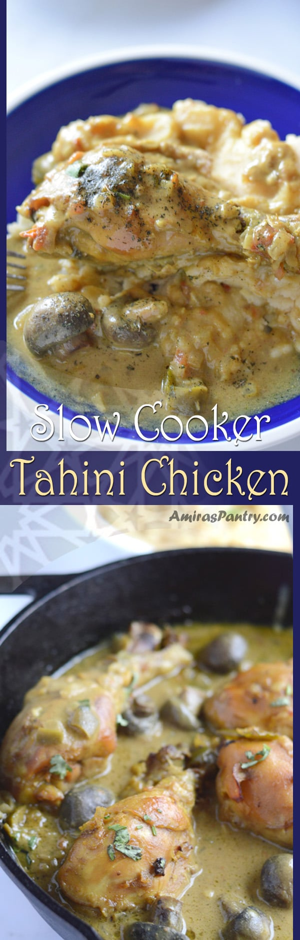 Tender, fall apart chicken swimming in a poodle of tahini sauce. Creamy, delicious and so simple. A Middle Eastern chicken recipe for serious eaters.