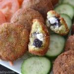 A close up of food, with Falafel stuffed Feta