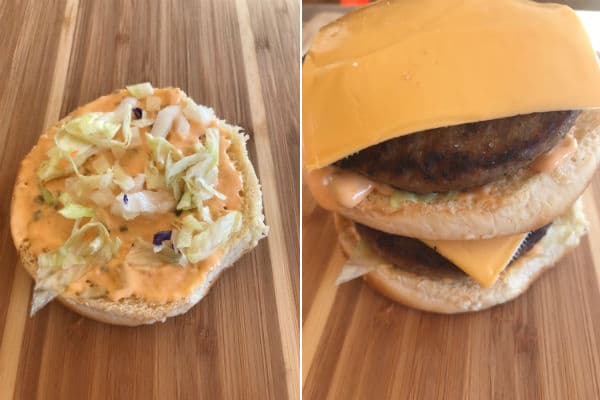 final steps showing how to mke a homemade big mac sandwich
