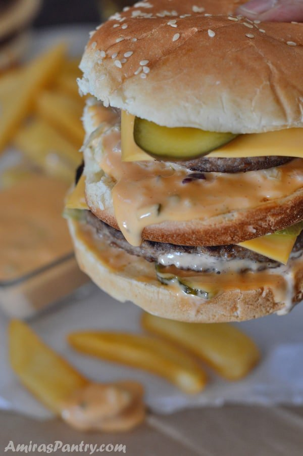 Get your fast food fix at home with this stunning replica of the Big Mac. This got everything you need in a double decker sandwich even the sauce. homemade big mac sauce will give any homemade burger a facelift.
