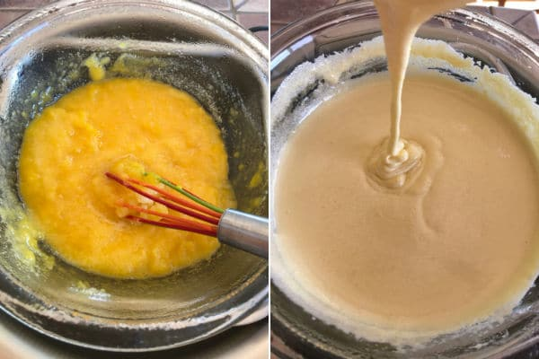 Mixing egg yolks with sugar over water bath until it is pale yellow color.