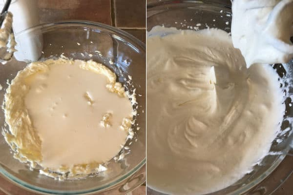 Adding whipping cream to the mascarpone cheese and then beating them all to a hard peak.