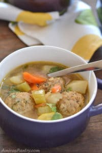 Turkey Albondigas Soup; Sopa De Albondigas Recipe