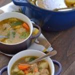 A bowl of Turkey Albondigas soup on a table