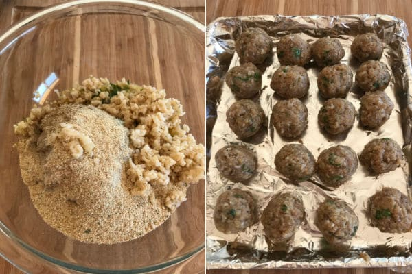 Steps to make turkey meatballs, adding all the ingredients in a deep bowl then forming into balls.