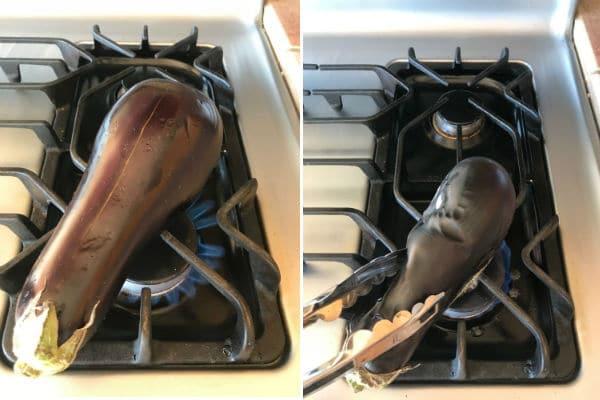 Roasting eggplants for baba ganoush on open fire.