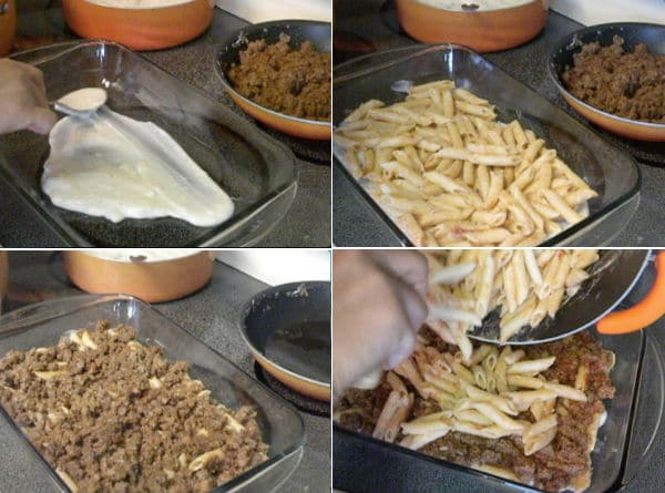 Layering some bechamel sauce at the bottom of the baking dish then pasta topping that with the ground beef . Then adding the remaining pasta on top.