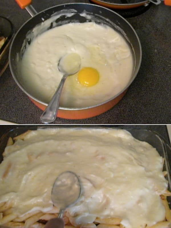 cracking an egg over the remaining cooled bechamel and spreading it over the top of the baking dish.