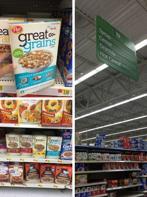 Cereal isle in Walmart where you can find the Great Grains Coconut Almond Crunch.