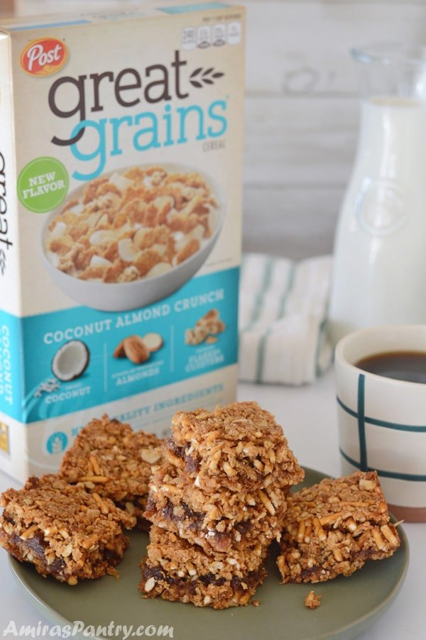 Breakfast squares loaded with sweet and salty flavors plus a crunch factor. Sweet coconut, almonds, pretzels, whole grain flakes, oats and dates and honey and a whole lot of good things. This is the right start for any day, the start of something great.